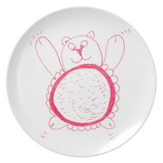 Prato De Festa Placa da melamina do urso do girassol