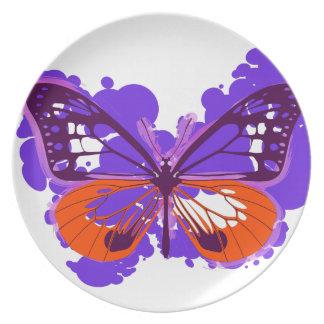 Prato De Festa Placa de borboleta roxa do pop art