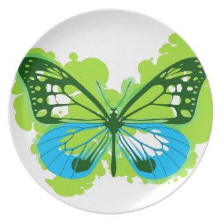 Prato De Festa Placa de borboleta verde do pop art