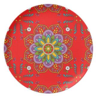 Prato De Festa Placa de florescência da melamina do ~ da alegria