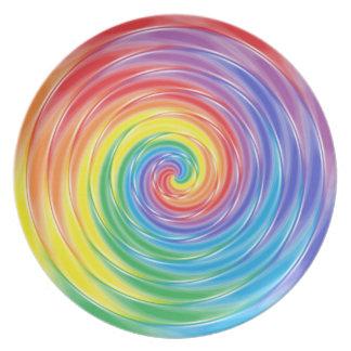 Prato De Festa Placa de giro do arco-íris