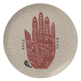 Prato De Festa Placa de linho da melamina da palma de Jitaku