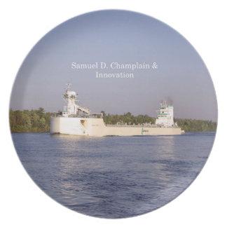Prato De Festa Placa de Samuel D. Champlain & de inovação