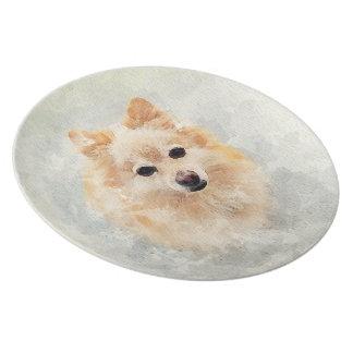 Prato De Festa Placa do amante de Pomeranian! Cão de Pomeranian