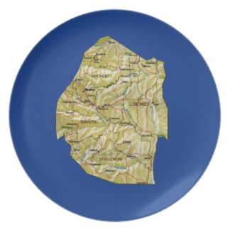 Prato De Festa Placa do mapa de Suazilândia