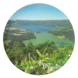Prato De Festa Placa do panorama de Sete Cidades Açores