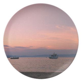 Prato De Festa Placa do por do sol e da melamina do mar