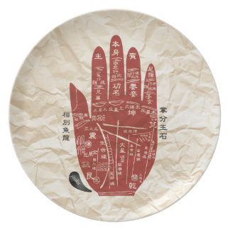 Prato De Festa Placa enrugada palma da melamina de Jitaku