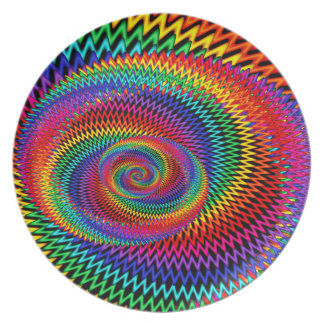 Prato De Festa Placa espiral ondulada da melamina do arco-íris