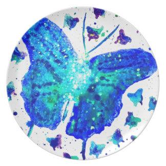 Prato De Festa Placa pintado mão da melamina da borboleta