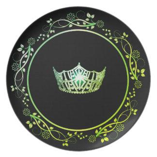 Prato De Festa Placa verde da coroa da senhorita América com