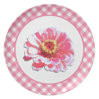 Prato De Festa Placa - Zinnia e estrutura cor-de-rosa