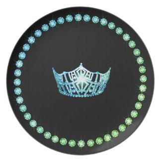 Prato De Festa Placas do plástico da coroa do Aqua da senhorita