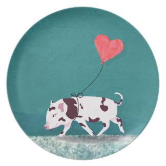 Prato De Festa Porco do bebê com balão do coração