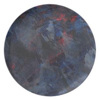 Prato De Festa Preto e branco no fundo azul e vermelho