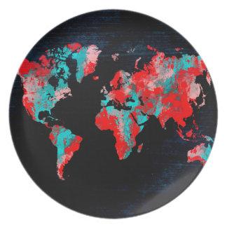 Prato De Festa preto vermelho do mapa do mundo