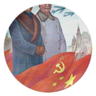 Prato De Festa Propaganda original Mao Zedong e Josef Stalin