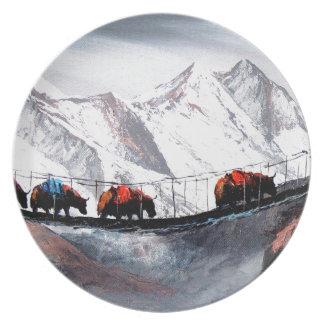Prato De Festa Rebanho de iaques Himalaya da montanha