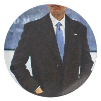 Prato De Festa Retrato abstrato do presidente Barack Obama 10