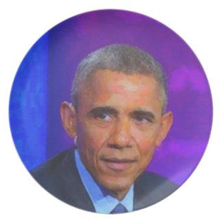 Prato De Festa Retrato abstrato do presidente Barack Obama 8 a.jp