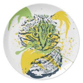 Prato De Festa Retrato bonito do gato do Grunge