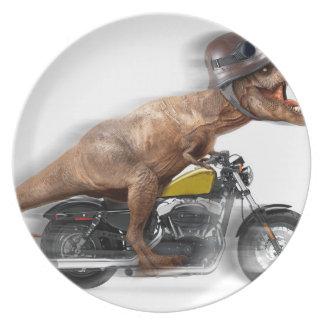Prato De Festa Rex dos motocicleta-tiranossauros-t do rex de T -