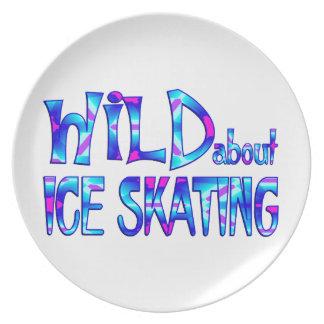 Prato De Festa Selvagem sobre o patinagem no gelo
