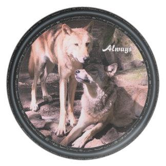 Prato De Festa Sempre placa de coleção do lobo