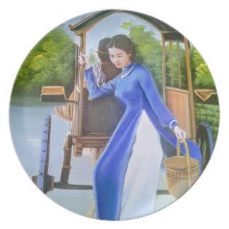Prato De Festa Senhora no azul