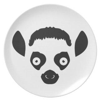 Prato De Festa Silhueta da cara do Lemur