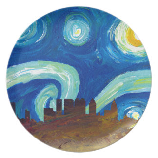 Prato De Festa Silhueta da skyline de Atlanta com noite estrelado