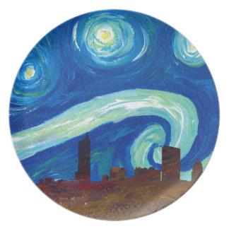 Prato De Festa Silhueta da skyline de Austin com noite estrelado