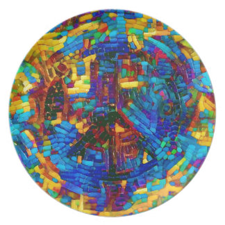 Prato De Festa Símbolo de paz colorido do mosaico