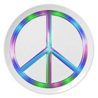 Prato De Festa Sinal de paz colorido brilhante