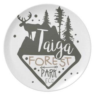 Prato De Festa Sinal do promo do parque do eco da floresta de