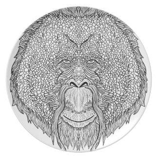 Prato De Festa T do macaco do orangotango - coloração do estilo