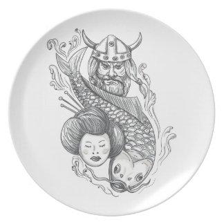 Prato De Festa Tatuagem da cabeça da gueixa da carpa de Viking