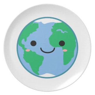 Prato De Festa Terra do planeta de Kawaii