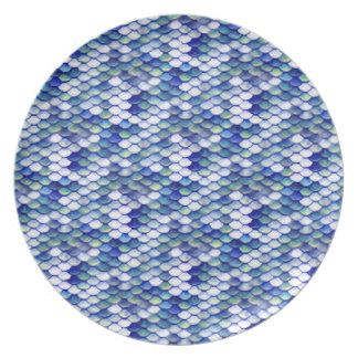 Prato De Festa Teste padrão azul da pele da sereia