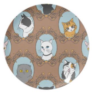 Prato De Festa Teste padrão bonito dos gatos