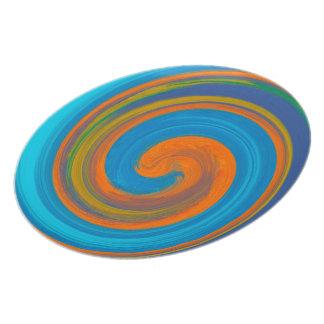 Prato De Festa Teste padrão colorido abstrato #3 do redemoinho