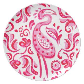 Prato De Festa Teste padrão cor-de-rosa Funky de Flamigo Paisley