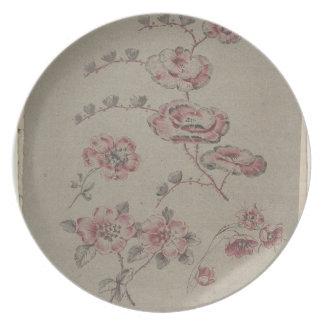 Prato De Festa Teste padrão de flor cor-de-rosa - francês