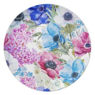 Prato De Festa Teste padrão de flores roxo azul da meia-noite da