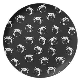 Prato De Festa Teste padrão do cão do Pug
