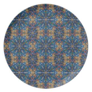 Prato De Festa Teste padrão floral étnico abstrato colorido de da