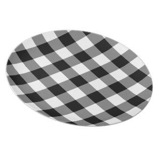 Prato De Festa Teste padrão preto e branco do guingão