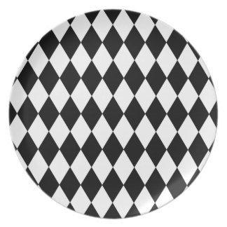 Prato De Festa Teste padrão preto e branco do Harlequin