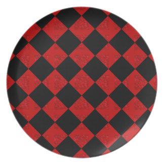 Prato De Festa Teste padrão vermelho do verificador do diamante