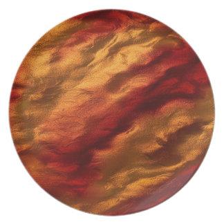 Prato De Festa Textura vermelha e alaranjada abstrata